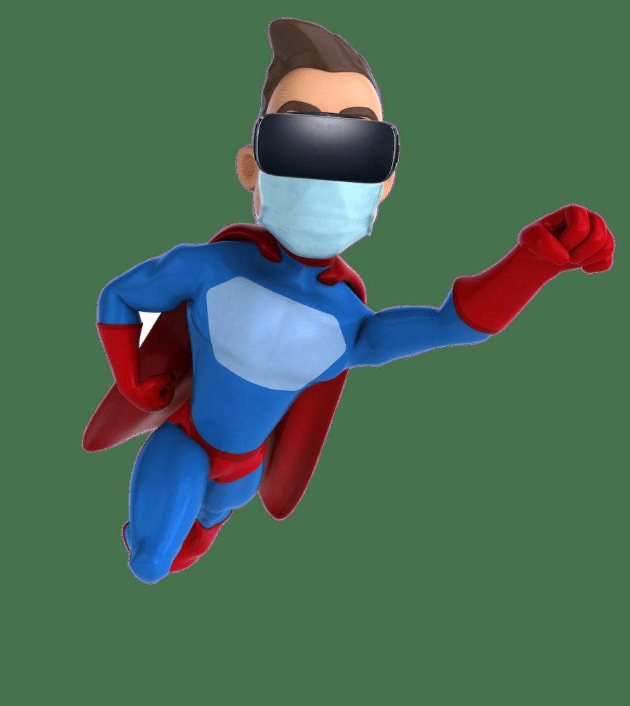 Ein 3D-Charakter verkleidet als Held mit einer VR-Brille